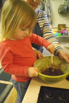 Mixing the choccy icing