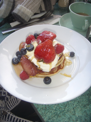 My breakfast of Pancakes, Bacon, Maple Syrup, Berries and Creme Fraiche
