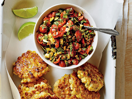 sharingourfoodadventures.com Corn Fritters with Spicy Zucchini Salsa (Courtesy of Epicurious)