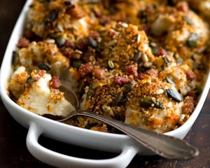 Tasty Cauliflower, Bacon & Mustard Gratin