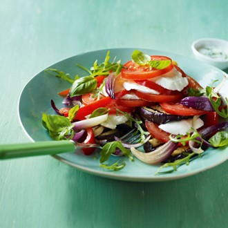 Grilled Aubergine with Peppers Salad recipe