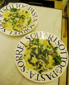 Mushroom & Spinach Pappradelle with Crispy Sage Leaves