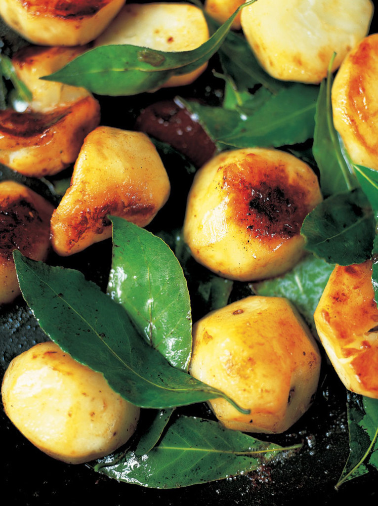 Sauteed Jerusalem Artichokes with Garlic & Bay Leaves - Courtesy of Jamie Oliver