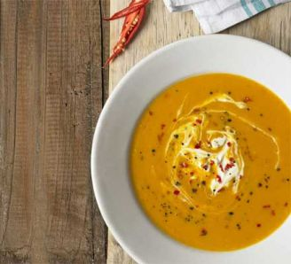 Butternut Squash Soup with Chilli & Creme Fraiche Courtesy Good Food