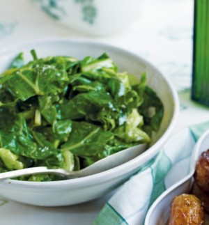Wilted Spring Greens with Wild Garlic recipe - courtesy Delicious magazine