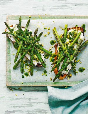 Griddled Asparagus, goat's cheese & Herb Oiled Toast - courtesy Delicious mag.