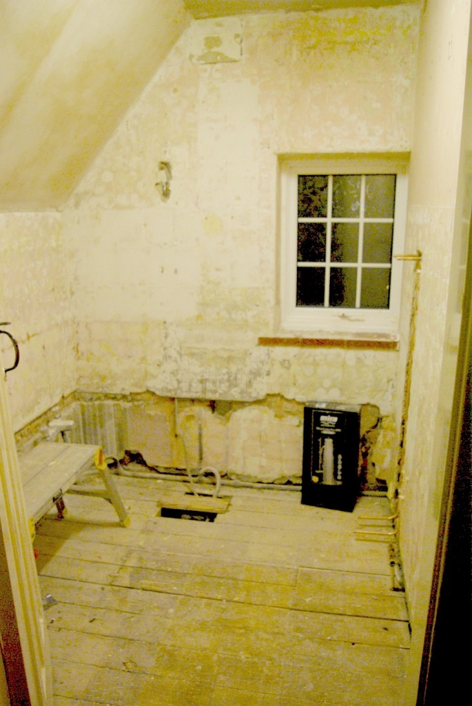 Our bathroom stripped out.