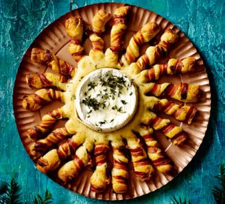 Baked Camembert with Bacon Wrapped Breadsticks - Good Food