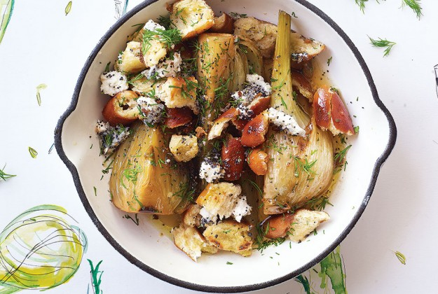Sherry-braised Fennel with Pretzel Crumbs & Goats Cheese. - courtesy Delicious mag.