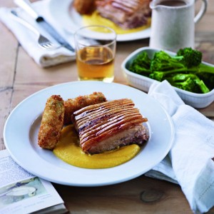 Pork Belly with Wild Garlic Croquettes, Root Veg Puree & Cider recipe - courtesy Delicious magazine