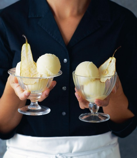 Autumnal Recipes - Part Two. Pear Sorbet with Pear Wafers - courtesy Delicious magazine.